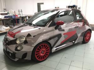 Car wrapping Abarth 500 con pellicola stampata effetto camouflage 3