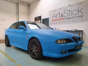 Car wrapping Alfa Romeo 166 pellicola azzurro opaco 3M 1080 thiene vicenza 3