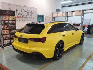 Car wrapping personalizzazioni Audi RS6 hexis oscuramento fari vetri