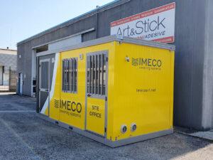 Decorazione box prefabbricato ufficio mobile pellicola cast car wrapping adesivi prespaziati imeco