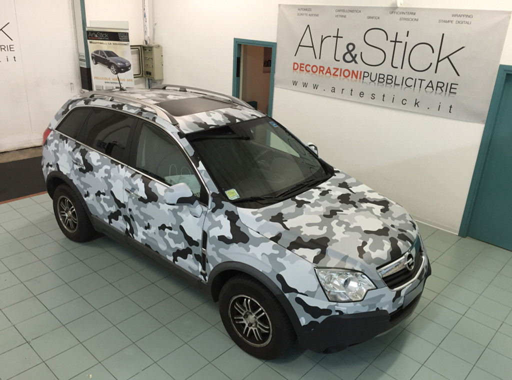 OPEL ANTARA car wrapping camouflage artic opaco