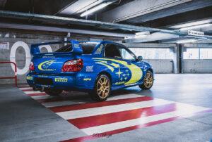 Subaru Impreza WRX Sti replica livrea WRC 2005 servizio fotografico solberg