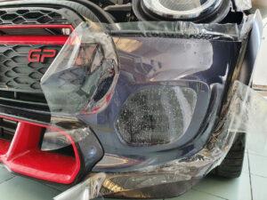 applicazione protettivo trasparente ppf paint protectiob film hexis bodyfence mini gp 2020