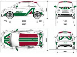 Progetto decorazione Abarth 500 livrea Alitalia