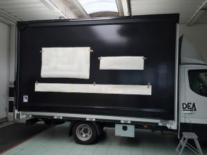 decorazione furgone aziendale adesivi prespaziati apa truck per teli 1 dea system