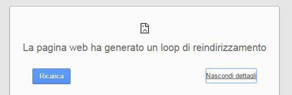 google chrome errore loop