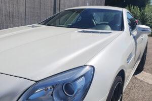 mercedes slk car wrapping avery bianco perlato lucido fari oscurati 1