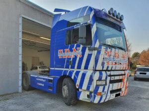 motrice-MAN camion-decorazione-cast-prespaziati-trn car wrapping arancione blu