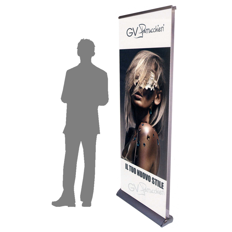 roll up drop deluxe bifacciale espositore riavvolgibile